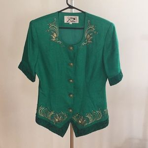 Gorgeous emerald green vintage top